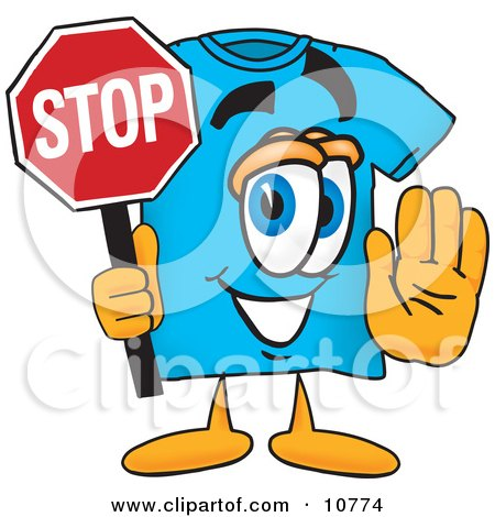Clipart Picture of a Blue Short Sleeved T-Shirt Mascot Cartoon Character Holding a Stop Sign by Toons4Biz
