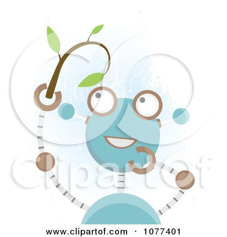 Clipart Blue Robot Holding A Seedling Plant - Royalty Free Vector Illustration by mheld