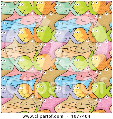 Clipart Seamless Colorful Fish Background - Royalty Free Vector Illustration by Any Vector