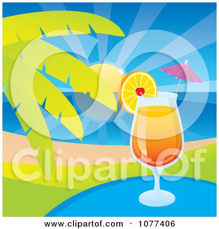 Clipart Tequila Sunrise Tropical Cocktail Beverage By A Palm Tree - Royalty Free Vector Illustration by Any Vector