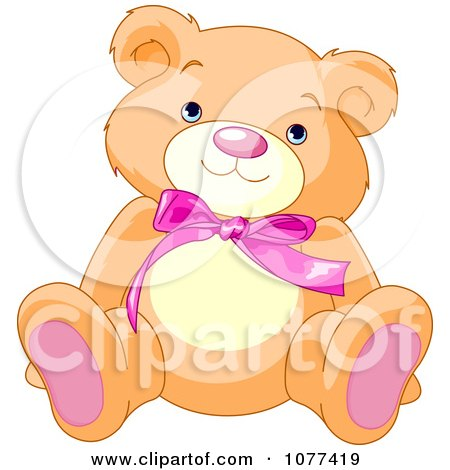 Clipart Cute Teddy Bear With A Pink Bow - Royalty Free Vector Illustration by Pushkin