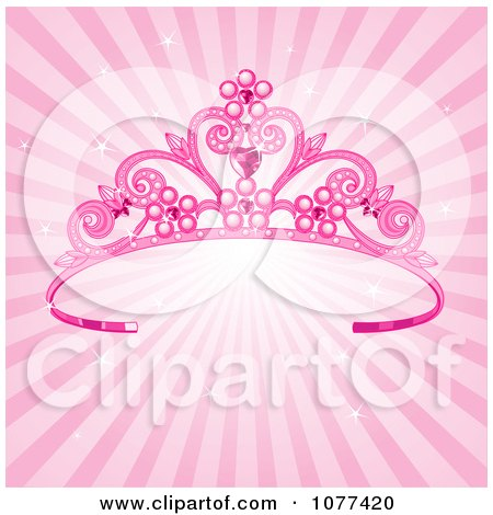 Pink Pageant Princess Tiara Crown Over Sparkly Rays - Royalty Free Vector Illustration by Pushkin