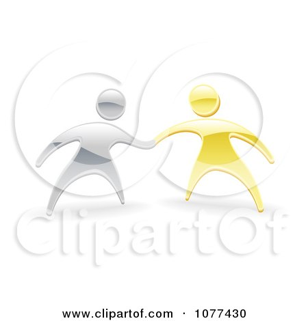 3d Silver And Gold People Shaking Or Holding Hands Posters, Art Prints