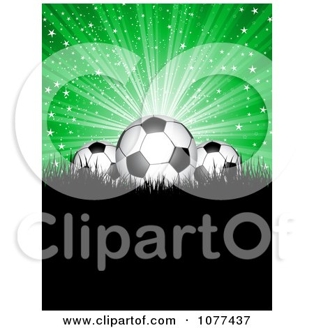 Clipart 3d Soccer Balls Under Blue Rays On Black Grass With Copyspace - Royalty Free Vector Illustration by KJ Pargeter
