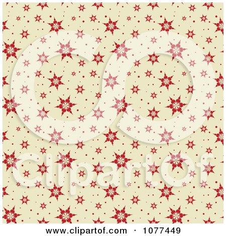Clipart Red Seamless Snowflake Pattern Background - Royalty Free Vector Illustration by KJ Pargeter