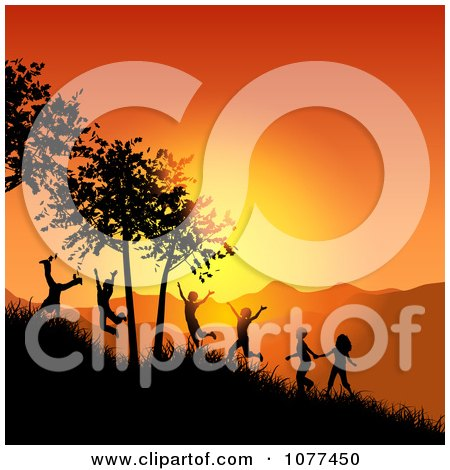 Clipart Silhouetted Children Playing On A Hillside At Sunset - Royalty Free Vector Illustration by KJ Pargeter