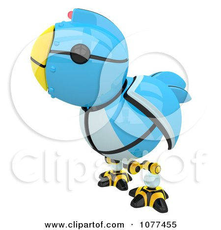 Clipart 3d Robotic Blue Tweet Bird Facing Left - Royalty Free CGI Illustration by Leo Blanchette