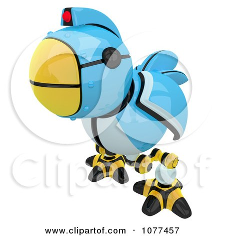 Clipart 3d Curious Robotic Blue Tweet Bird - Royalty Free CGI Illustration by Leo Blanchette