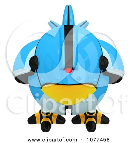 Clipart 3d Robotic Blue Tweet Bird Facing Front - Royalty Free CGI Illustration by Leo Blanchette
