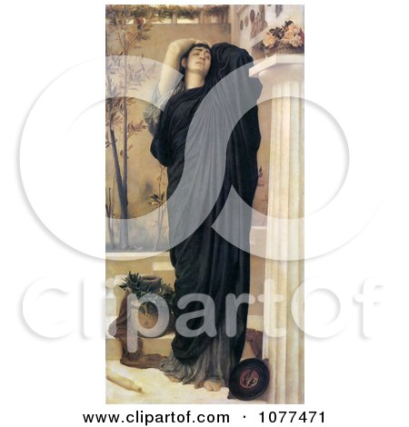 Painting of a Electra at the Tomb of Agamemnon by Frederic Lord Leighton - Royalty Free Historical Clip Art by JVPD