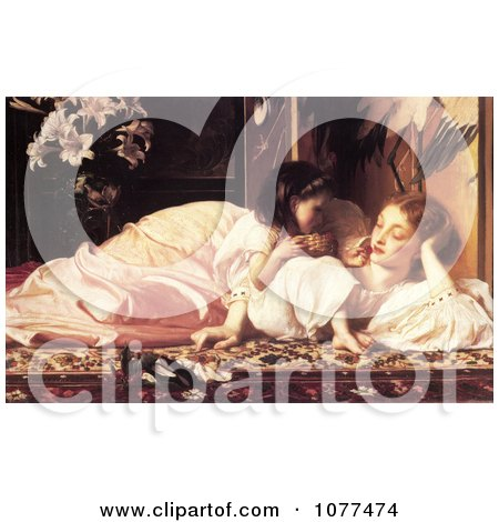 Painting of a Daughter Feeding Her Mother Fruit, Mother and Child by Frederic Lord Leighton - Royalty Free Historical Clip Art by JVPD
