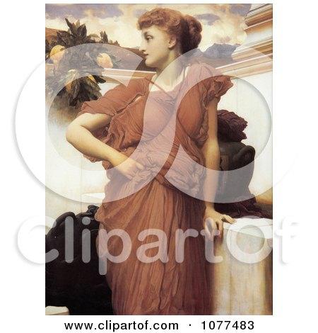 Painting of a Woman Looking Over Her Shoulder, At the Fountain by Frederic Lord Leighton Posters, Art Prints