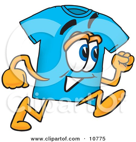 Clipart Picture of a Blue Short Sleeved T-Shirt Mascot Cartoon Character Running by Toons4Biz