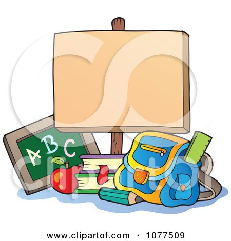 School Items Below A Blank Sign Posters, Art Prints
