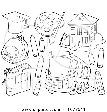 Clipart Outlined School Items A Bus And Building 2 - Royalty Free Vector Illustration by visekart