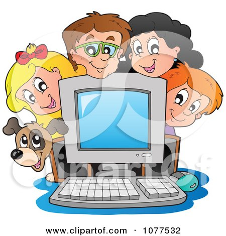 Clipart Dog And School Children Around A Computer - Royalty Free Vector Illustration by visekart