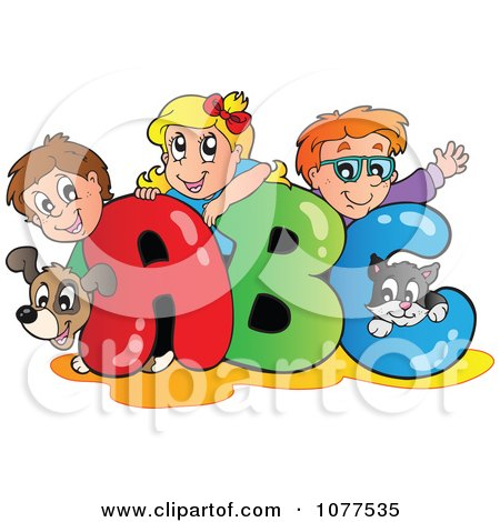 Clipart Dog Cat And School Children On ABC - Royalty Free Vector Illustration by visekart