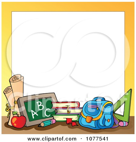 Yellow Frame With School Supplies 1 Posters, Art Prints