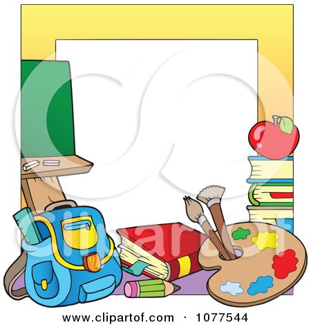 Yellow Frame With School Supplies 2 Posters, Art Prints