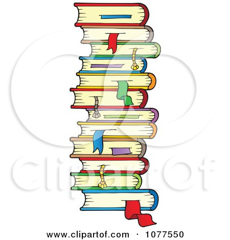 Stack Of School Books With Bookmarks Posters, Art Prints
