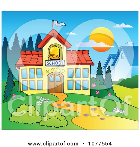 Clipart of a School Building with a Ringing Bell - Royalty Free ...