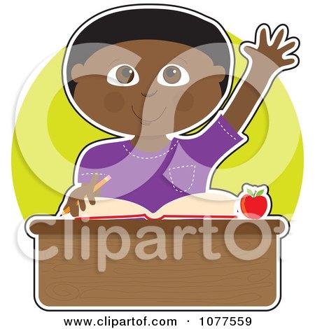 Smart Black School Boy Raising His Hand At His Desk Posters, Art Prints