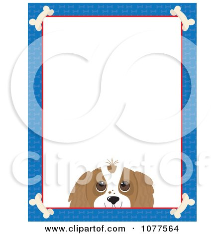 Clipart Blue Dog Bone Border And A Cavalier King Charles Face With White Copy Space - Royalty Free Vector Illustration by Maria Bell