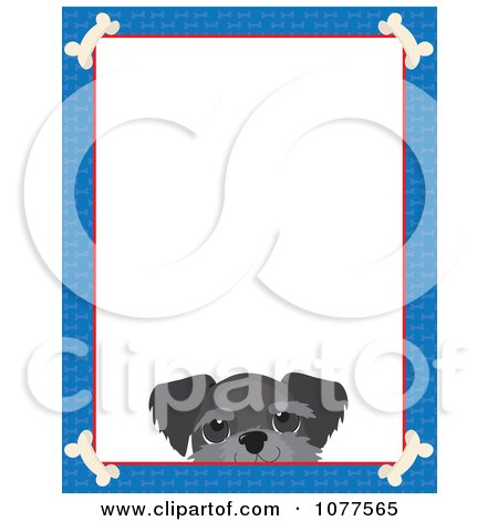 Clipart Blue Dog Bone Border And A Schnauzer Face With White Copy Space - Royalty Free Vector Illustration by Maria Bell