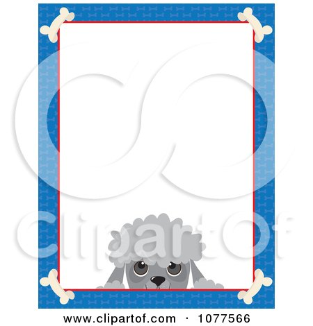 Clipart Blue Dog Bone Border And A Poodle Face With White Copy Space - Royalty Free Vector Illustration by Maria Bell