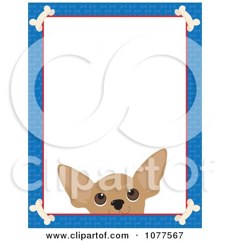 Clipart Blue Dog Bone Border And A Chihuahua Face With White Copy Space - Royalty Free Vector Illustration by Maria Bell