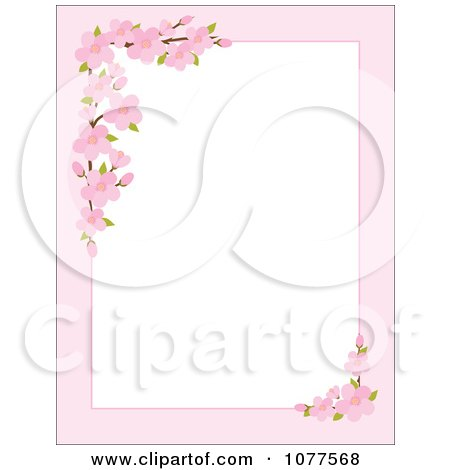 Clipart Pink Apple Blossom Border Around White Copyspace - Royalty Free Vector Illustration by Maria Bell
