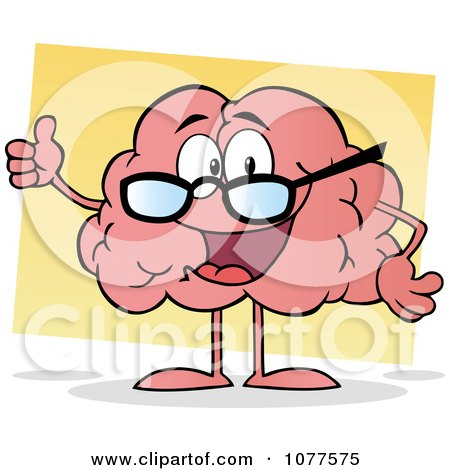 Clipart Pink Brain Wearing Glasses And Holding A Thumb Up - Royalty Free Vector Illustration by Hit Toon