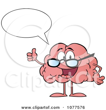 Clipart Talking Brain Character Wearing Glasses And Holding A Thumb Up - Royalty Free Vector Illustration by Hit Toon