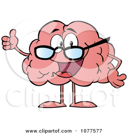 Clipart Brain Character Wearing Glasses And Holding A Thumb Up - Royalty Free Vector Illustration by Hit Toon