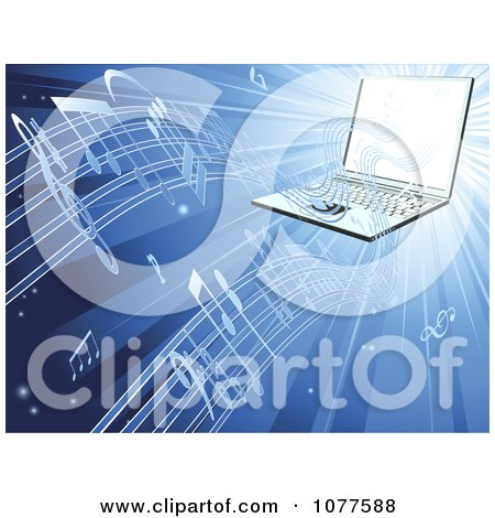 Clipart 3d Laptop Streaming Music On Blue - Royalty Free Vector Illustration by AtStockIllustration
