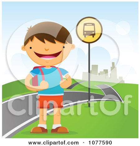 Clipart Happy School Boy Waiting At A Roadside Bus Stop - Royalty Free Vector Illustration by Qiun