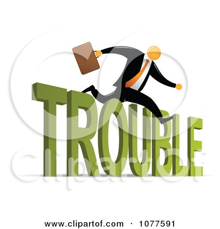 Clipart Orange Faceless Businessman Leaping Over Trouble - Royalty Free Vector Illustration by Qiun