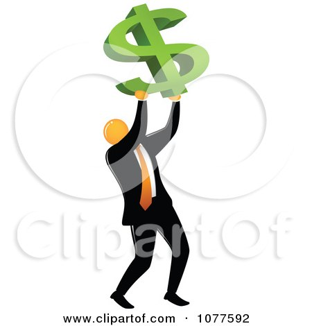 Clipart Orange Faceless Businessman Holding Up A Dollar Symbol - Royalty Free Vector Illustration by Qiun