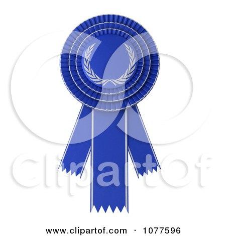 Clipart 3d Blue Rosette Award Ribbon - Royalty Free CGI Illustration by stockillustrations