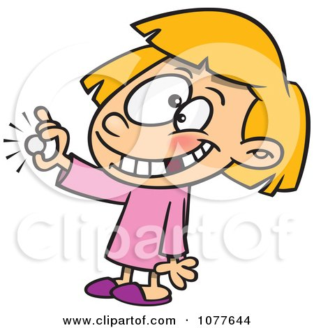 Girl With A Missing Tooth Holding A Coin From The Tooth Fairy Posters, Art Prints