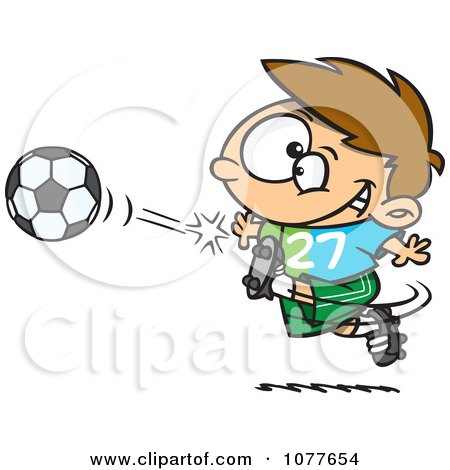 Clipart Boy Kicking A Soccer Ball - Royalty Free Vector Illustration by toonaday