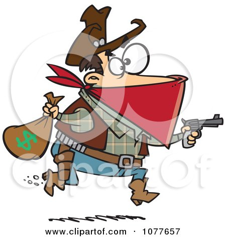 Clipart Black Bart Outlaw Stealing Money - Royalty Free Vector Illustration by toonaday