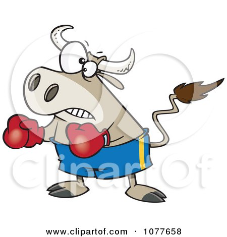Clipart Bullfighter Bull Boxer - Royalty Free Vector Illustration by toonaday