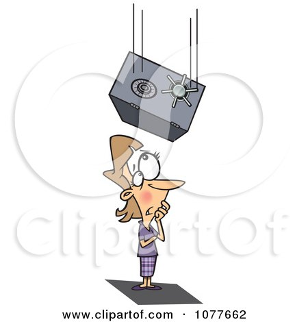 Clipart Safe Falling On An Unlucky Businesswoman - Royalty Free Vector Illustration by toonaday
