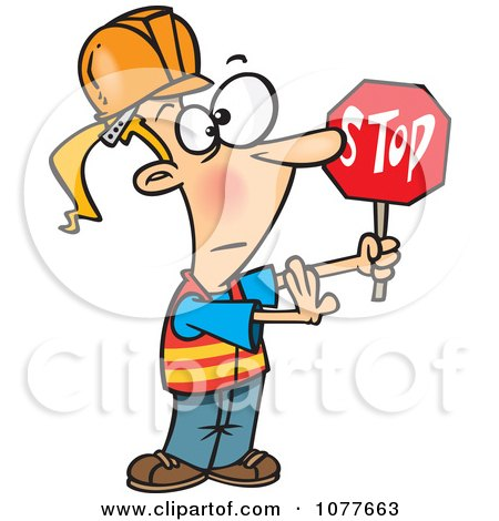 Clipart Traffic Girl Construction Worker Stopping - Royalty Free Vector Illustration by toonaday