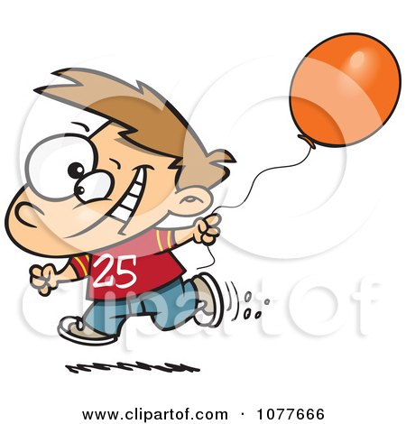 Clipart Birthday Boy Running With A Party Balloon - Royalty Free Vector Illustration by toonaday