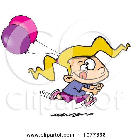 Clipart Birthday Girl Running With Party Balloons - Royalty Free Vector Illustration by toonaday