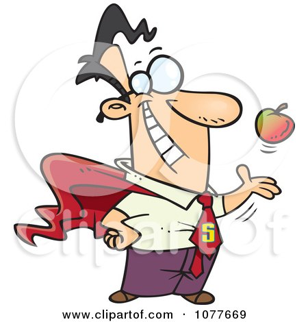 Clipart Super Man Tossing And Catching An Apple - Royalty Free Vector Illustration by toonaday