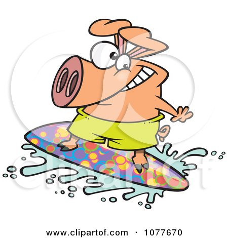 Clipart Surfer Pig Riding A Wave - Royalty Free Vector Illustration by toonaday