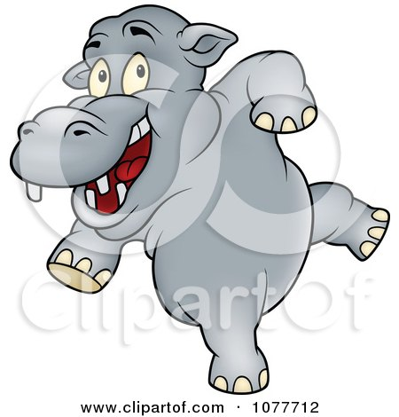 Clipart Happy Dancing Hippo - Royalty Free Vector Illustration by dero